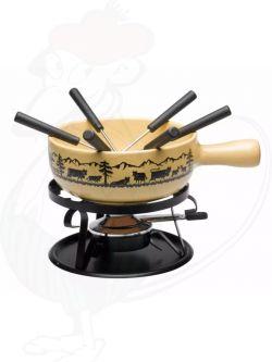 Cheese fondueset Scherenschnitt Beige