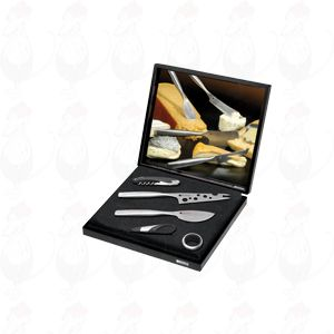 Gift box Cheese & Wine Set, Parmesan knife, Cheesy knife, corkscrew, drip ring and wine pourer with stopper