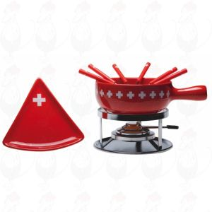 Cheese fondue set Swiss Cross with triangle plates