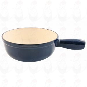 Plain blue cast iron/enamelled cheese fondue pot