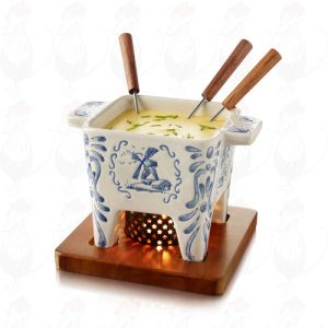 Tapas Chocolate Fondue set - Cheese fondue set - Delft Blue - Handpainted