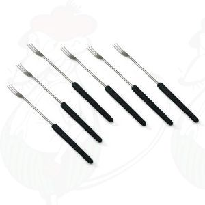 Cheese fondue forks - set of 6 - Dark wood handles