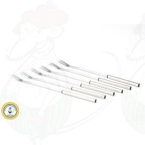 Fondue forks stainless steel black border set of 6