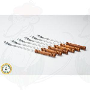 Fondue forks dark wood set of 6
