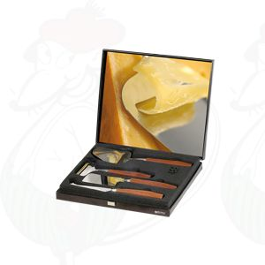 Gift box black, cheese Slicer, Slicer for young cheese, cheese hatchet and presentation knife De Luxe Rosewood