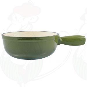 Plain green cast iron/enamelled cheese fondue pot