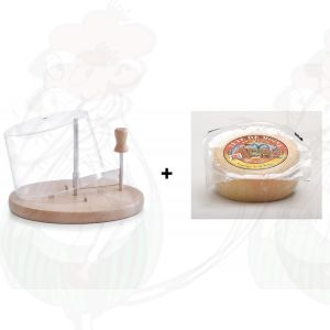 Cheese Curler with Dome | Beechwood + Tête de Moine Cheese | +/- 425g - 0.95 lbs