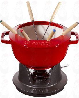 Staub fondue set - Cherry red - 20cm