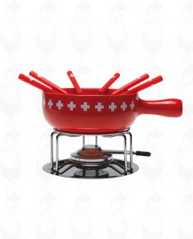 9 part cheese fondue set Swiss Cross